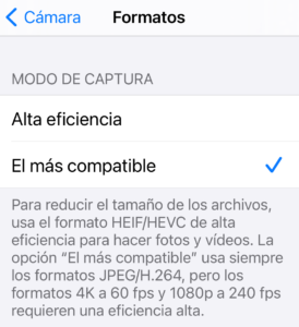 cambiar formato camara jpeg iphone