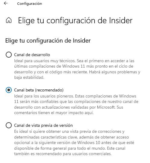 Configuracion Windows Insider Windows 11