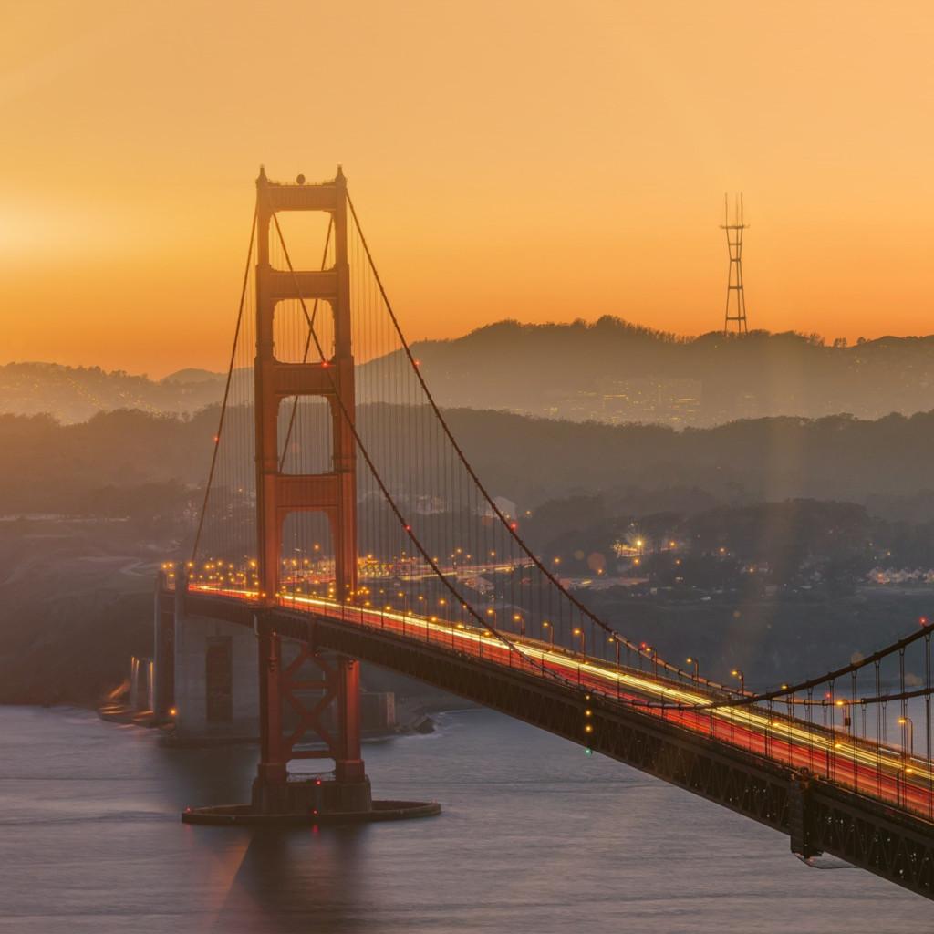 sunset wallpapers iphone ipad papers co bridge orange sunset river city lights flare ipad pro